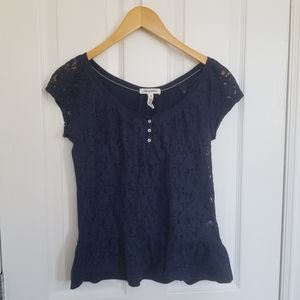 Aeropostale Navy Floral Lace Peplum Top